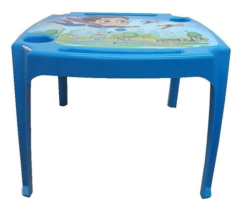 mesa mesinha infantilcom porta lapis e copo azul meninos