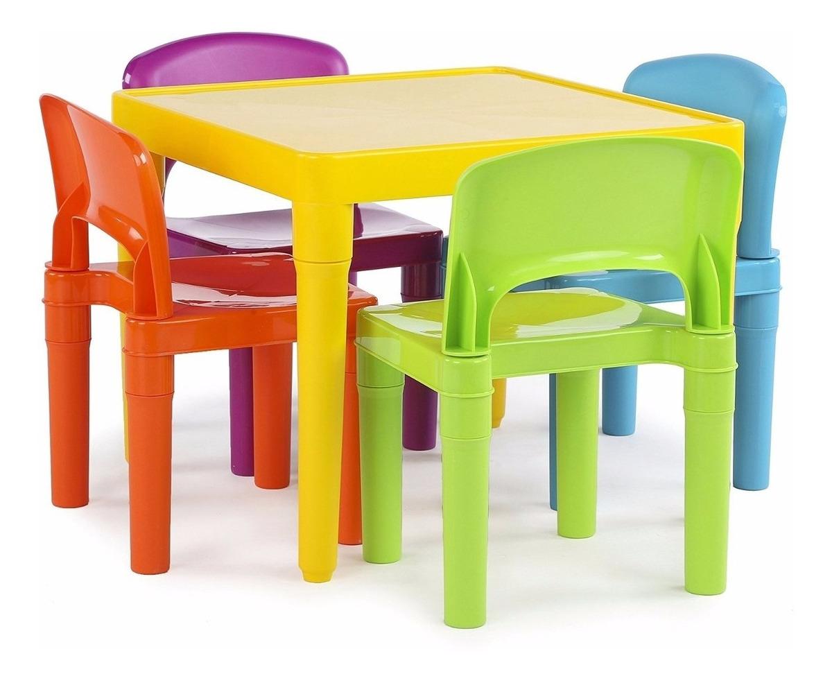 Mesita Juego Niños Con 4 Colores Sillas Comedor Jugar Mesa 6yfvIY7mbg