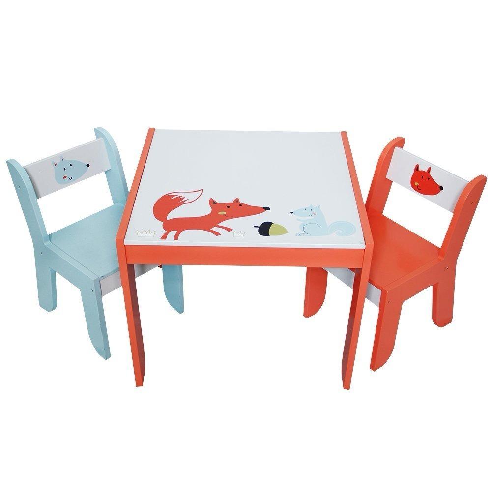 Mesa mesita con sillas para ni os madera fox printed - Mesita con sillas infantiles ...