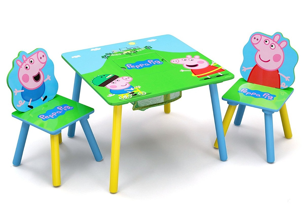 Mesa mesita con sillas para ni os madera peppa pig delta - Mesita con sillas infantiles ...