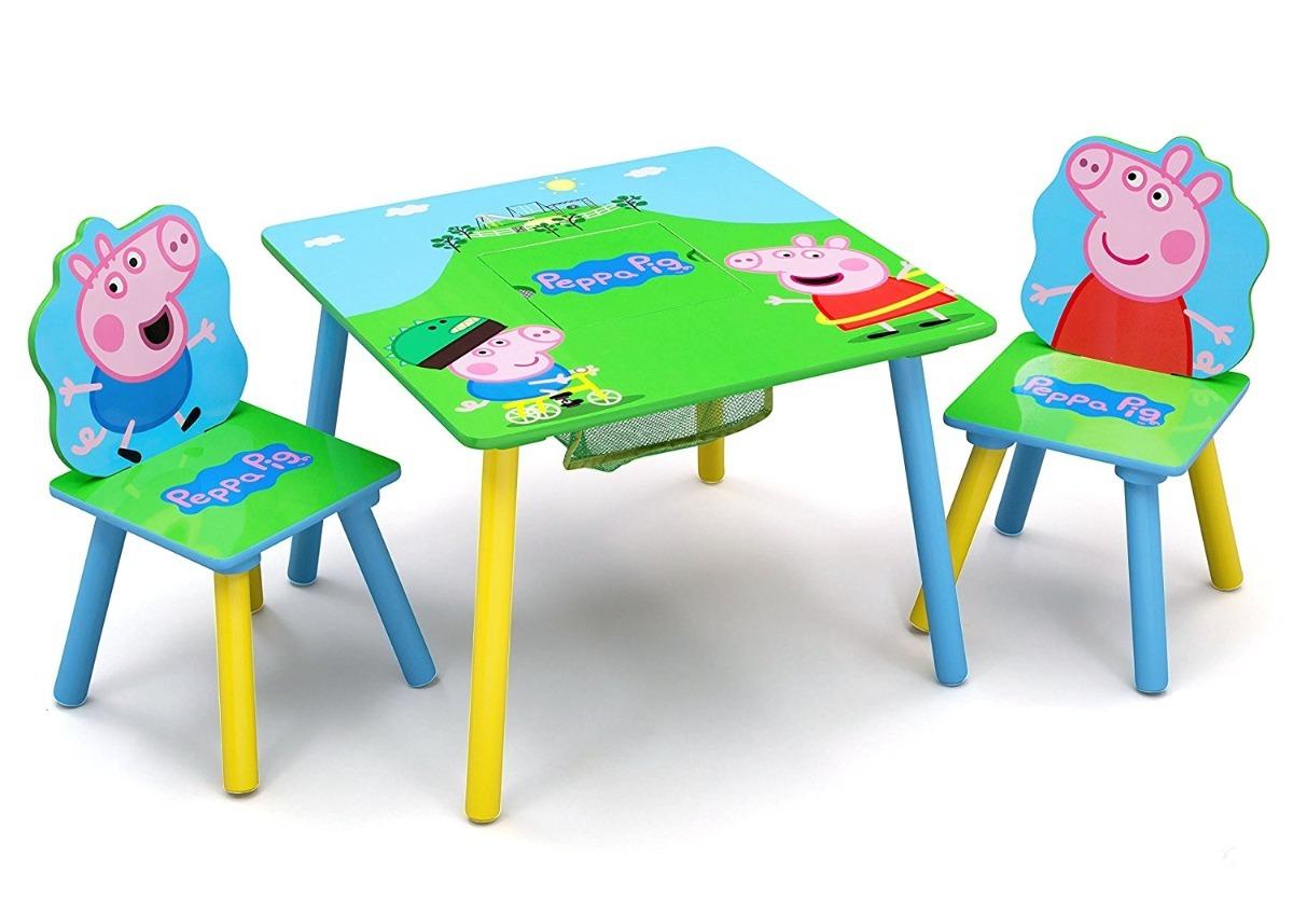 Mesa mesita con sillas para ni os madera peppa pig delta for Mesas y sillas infantiles de madera