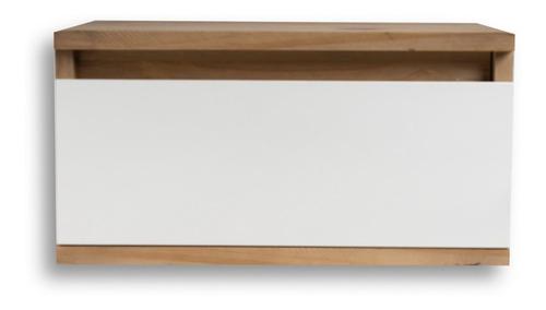 mesa mesita luz flotante con cajon corredera metal vintage