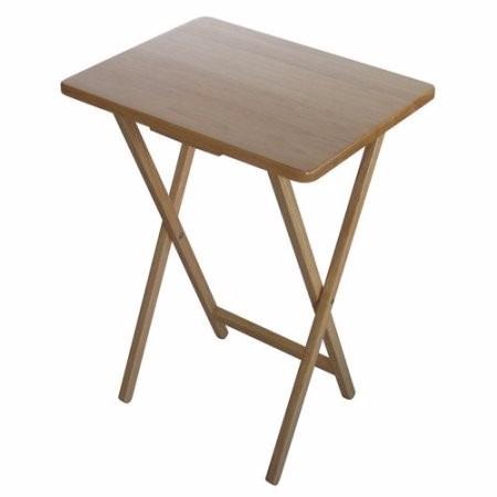 mesa mesita plegable auxiliar arrimo centro madera café moro