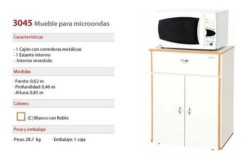 mesa microondas mueble con cajón y puertas 3045 kromo-s