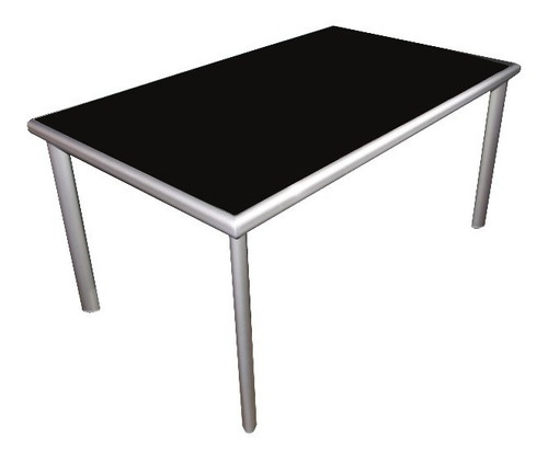 mesa midas de aluminio / vidrio negro 1.50m x 0.90m