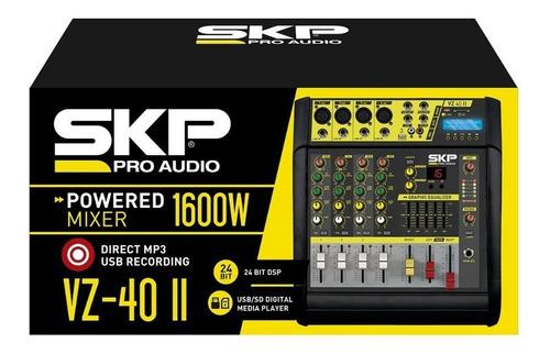 mesa mixer de som amplificada 4 canais 200w+200w skp vz40 ii