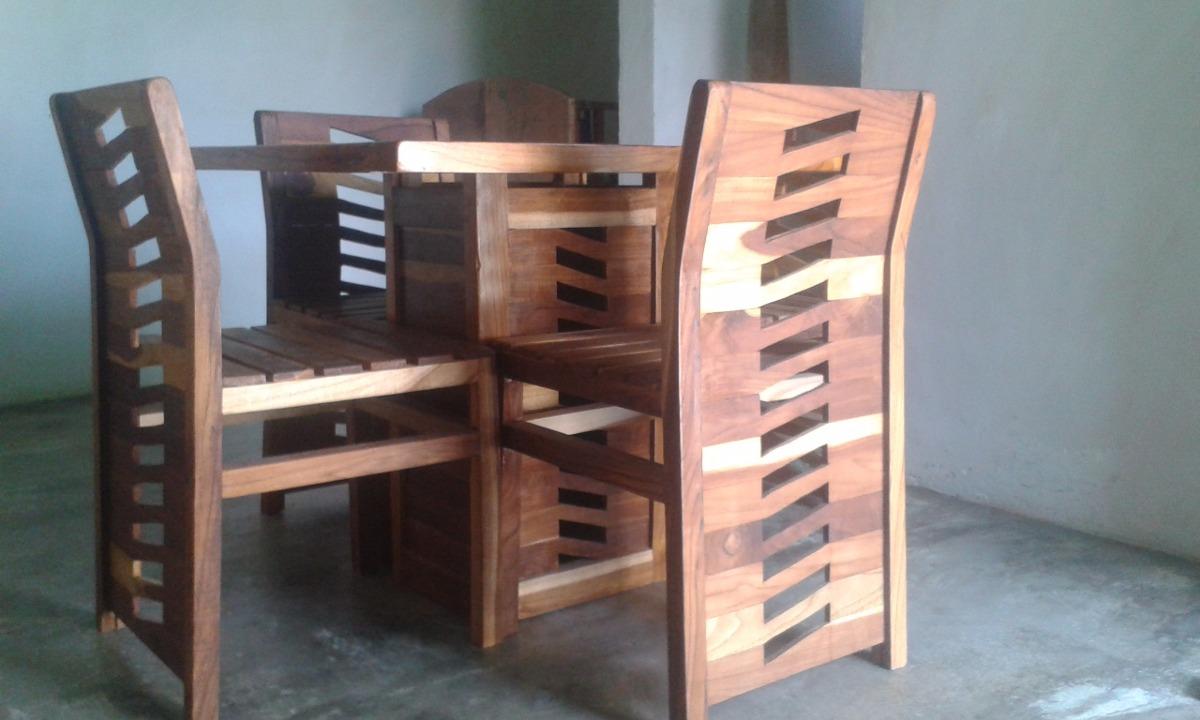 Mesa moderna para comedor de 4 sillas en madera teca bs for Sillas para comedor modernas en madera