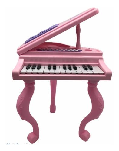 mesa musical piano + silla + microfono + accesorios juguete