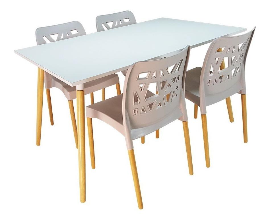 Mesa Nórdica 1.20 + 4 Sillas Diseño, Comedor, Jardín, Cocina
