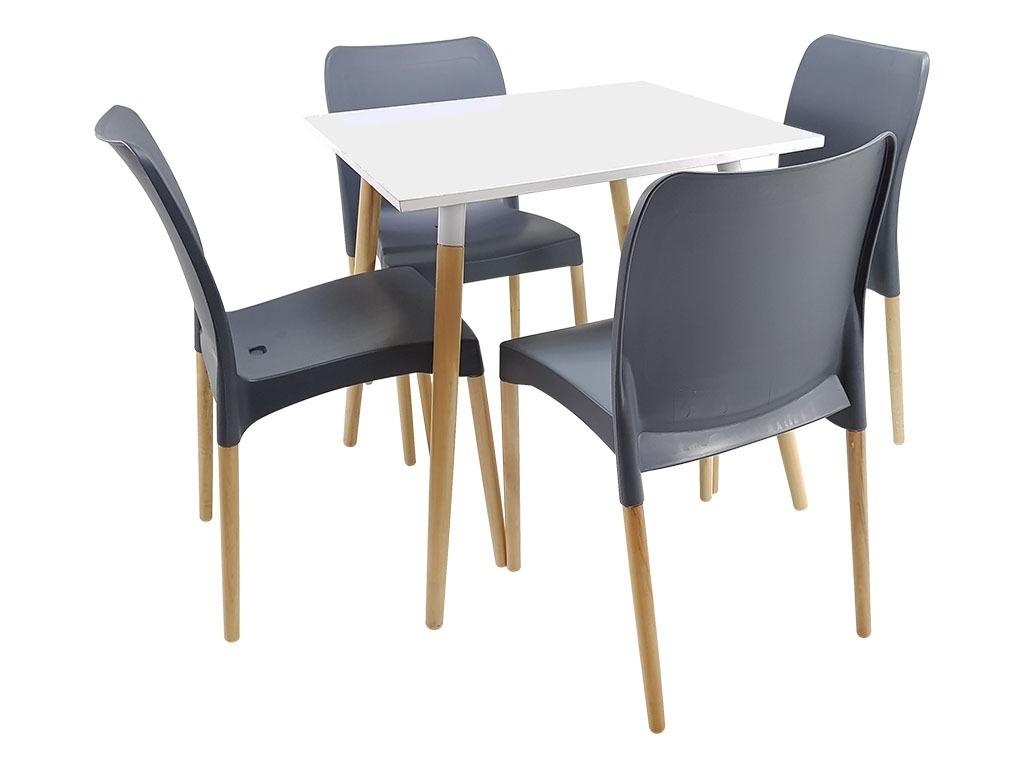Mesa Nórdica + 4 Sillas De Diseño, Comedor, Jardín, Cocina