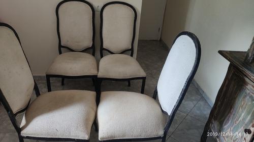 mesa octagonal ferro tampo vidro+4 cadeiras estrut ferro