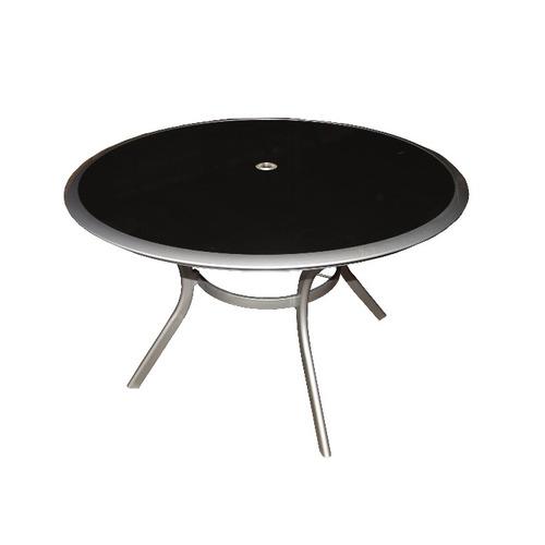 mesa onyx redonda aluminio / vidrio negro 1.20m x 0.75m