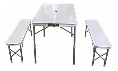 mesa outdoors plegable de aluminio con 2 bancos largos