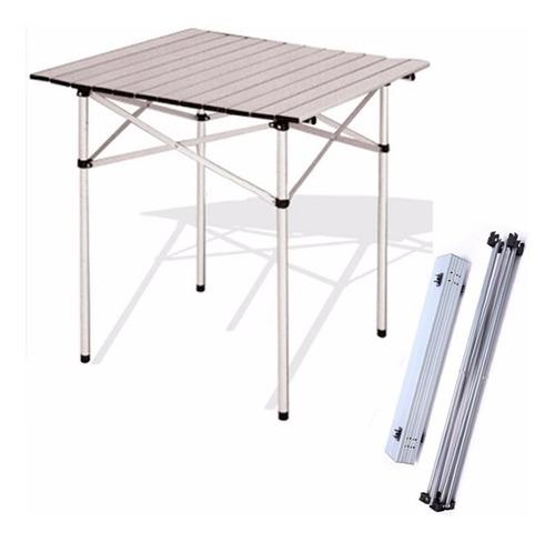 mesa outdoors plegable y enrollable de aluminio 70x70x70