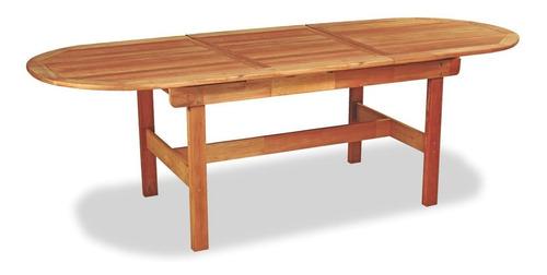mesa oval jardin exterior interior madera extensible 250x95 +