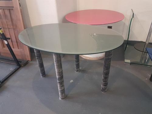 mesa oval opalina gris 10+10 patas negras 80mm