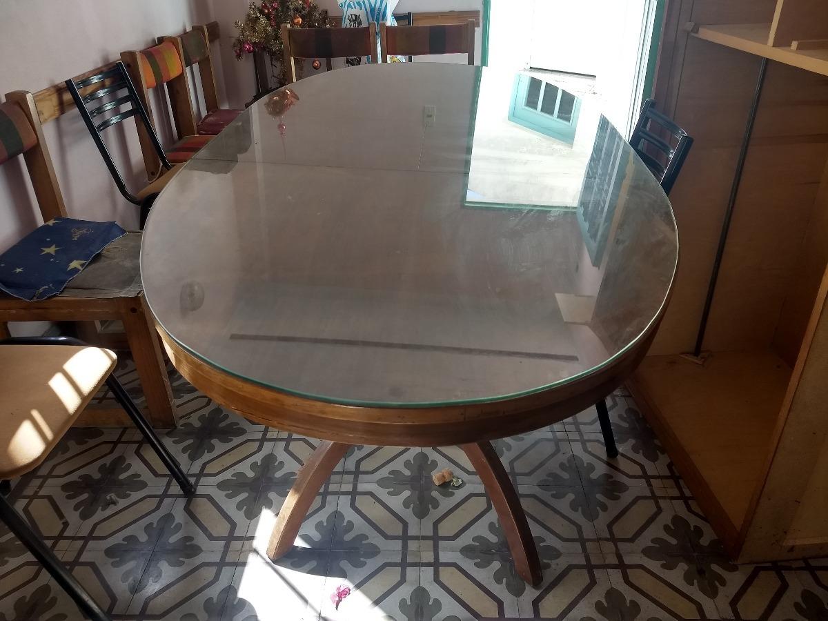 Mesa Ovalada Comedor Con Vidrio Liquido Hoy!! - $ 3.500,00 en ...