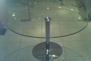 mesa ovalada de vidrio , insertos pegados laser uv!!!