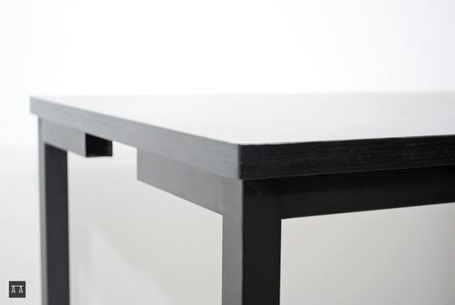 Mesa Para 4 Personas Acero Madera Mueble Diseño Moderno ...