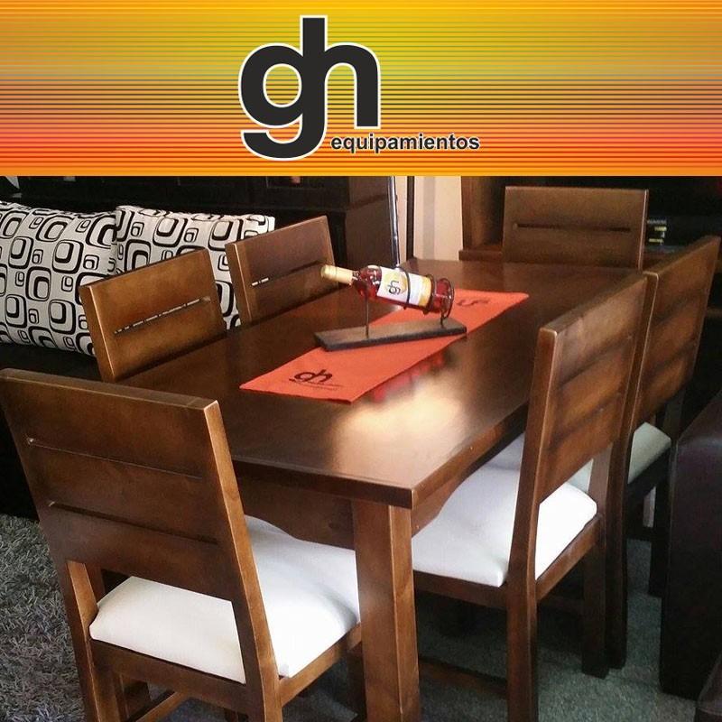 Mesa para comedor con 6 sillas tapizadas color a elecci n for Sillas para mesa de comedor