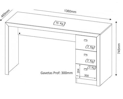 mesa  para computador com 3 gavetas  reta pequena me 02
