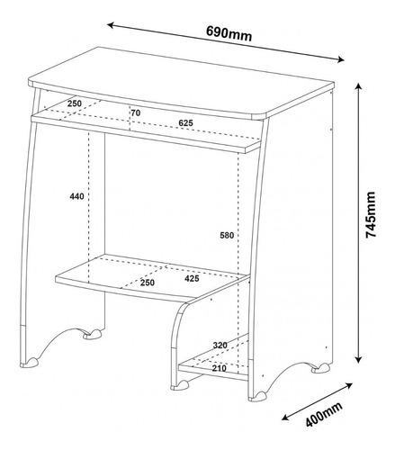mesa para computador com 3 prateleiras pixel artely dhwt