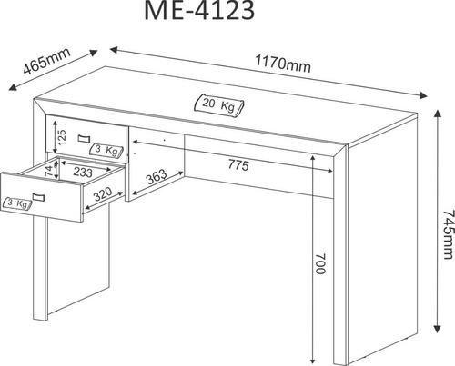 mesa para escritório 2 gavetas me4123 tecnomobili carvalho