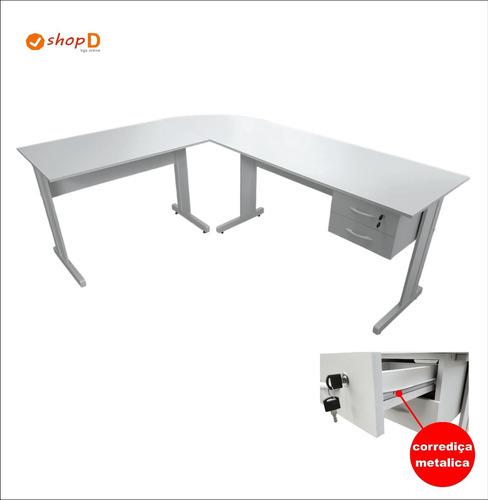 mesa para escritório em l 1.80x1.40 | cor: cristal / cristal