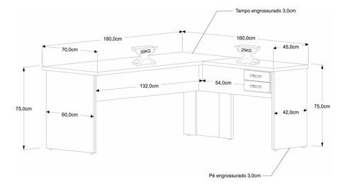 mesa para escritório em l 1,80x1,60m tampo e pés 30mm c/gav.