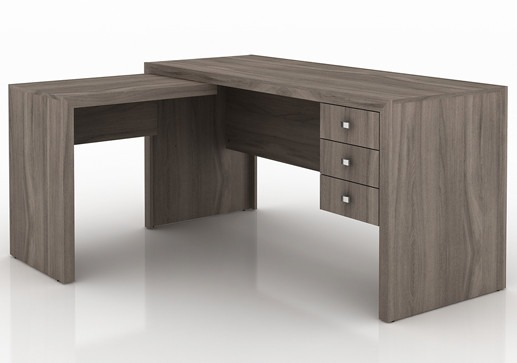 Mesa para escrit rio em l me4106 com 3 gavetas r 718 00 - Mesa escritorio l ...