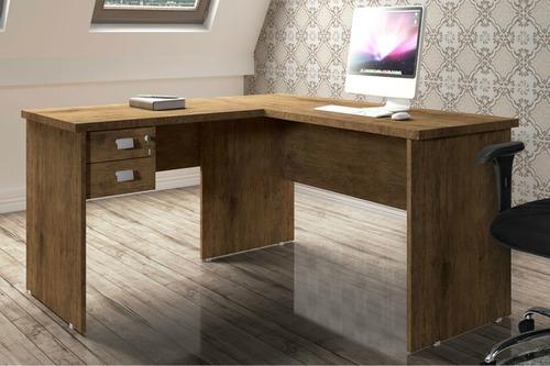 mesa para escritório marrom em l com 02 gavetas tampo grosso