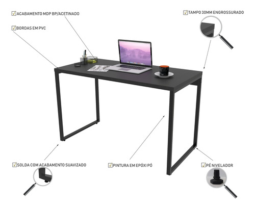 mesa para escritório office estilo industrial 1,20m kuadra