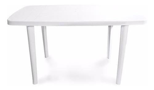mesa para exterior blanca  rectangula pvc 137x85 mi casa