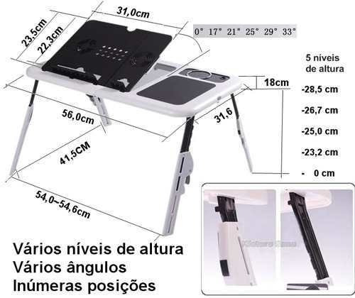 mesa para laptop, notebook plegable , ventilador y accesorio
