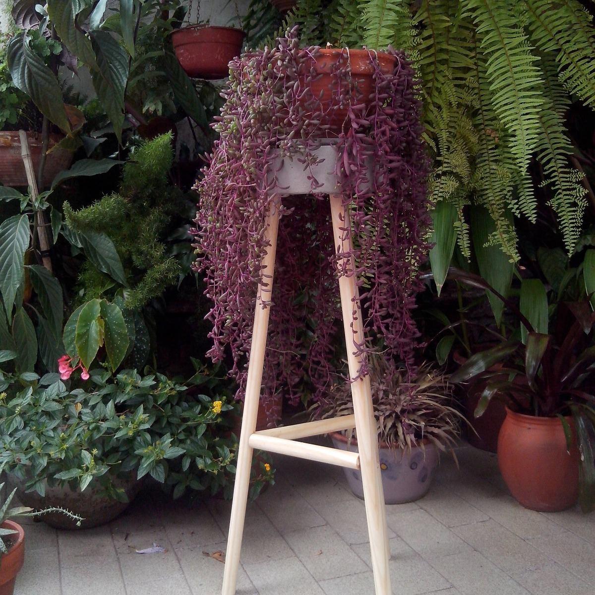 Mesa Para Maceta Jardin Terraza Cemento Y Madera 70cm Alto