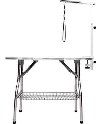 mesa para mascotas con brazo/soga  acero inoxidable