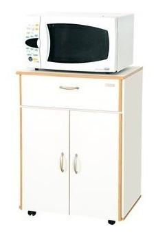 mesa para microondas con cajon y puertas 3045 platinum