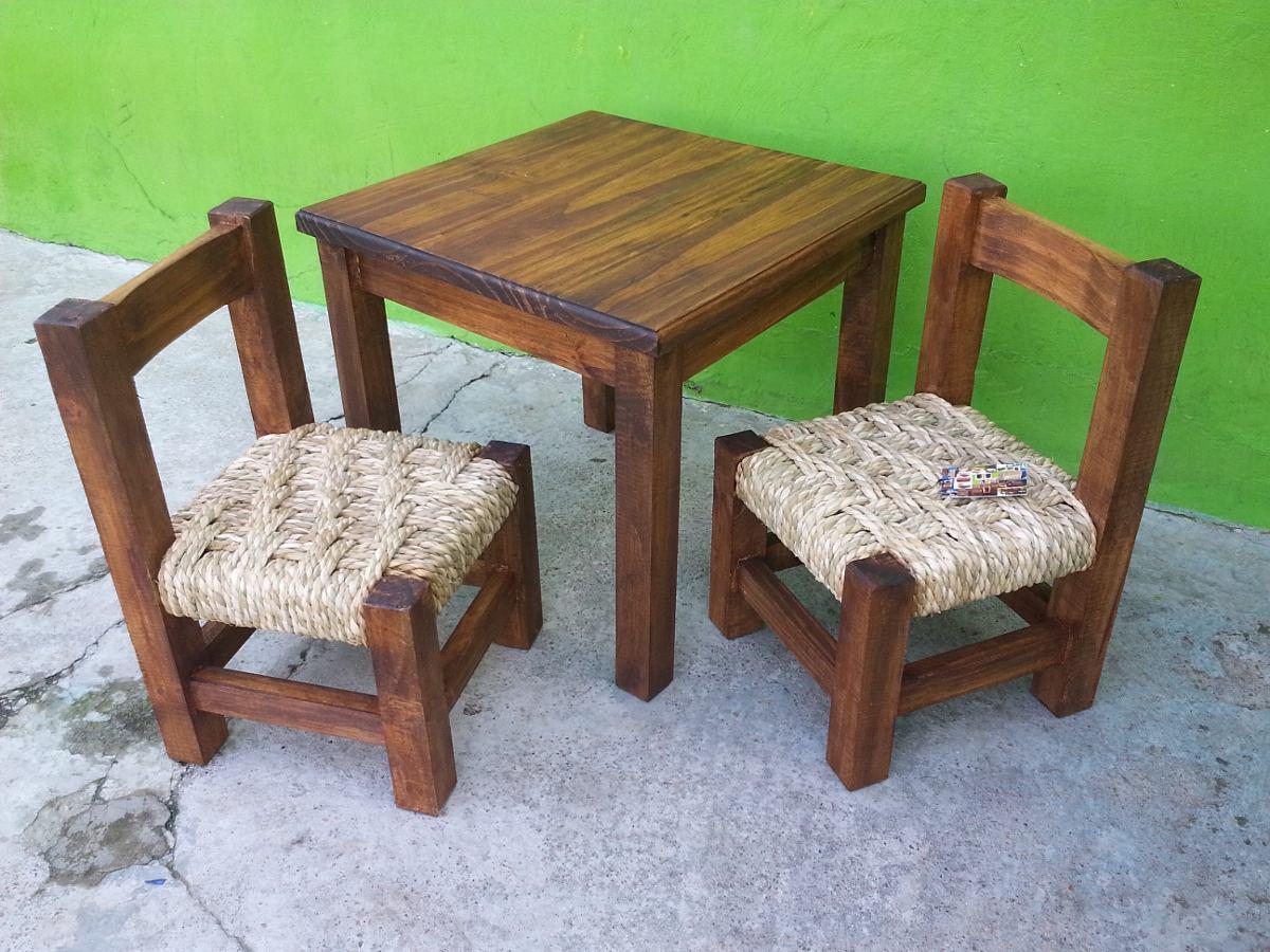 Mesa para ni o con 2 sillas en madera tejidas en cardo en mercado libre - Mesas madera ninos ...