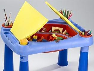 mesa para niños con sillas con baulera para juguetes