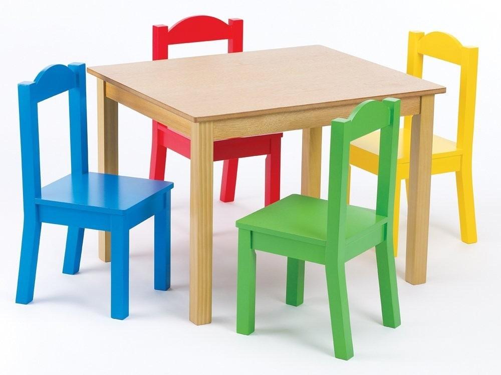 Mesa para ni os tot madera 4 sillas 3 en for Mesa de ninos ikea