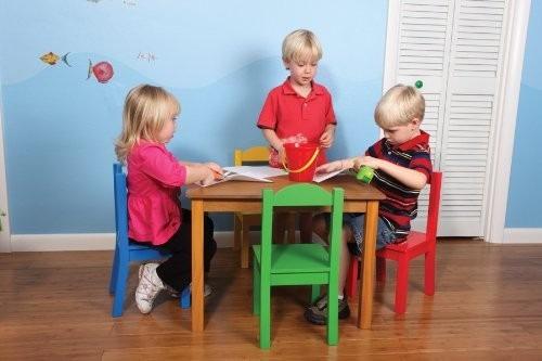 Mesa para ni os tot madera 4 sillas 3 en for Silla madera ninos