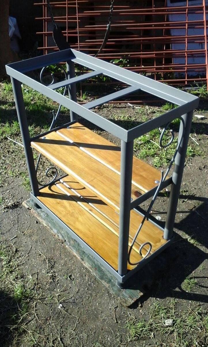 Mesa para pecera en hierro y madera super resistente - Mesas madera y hierro ...