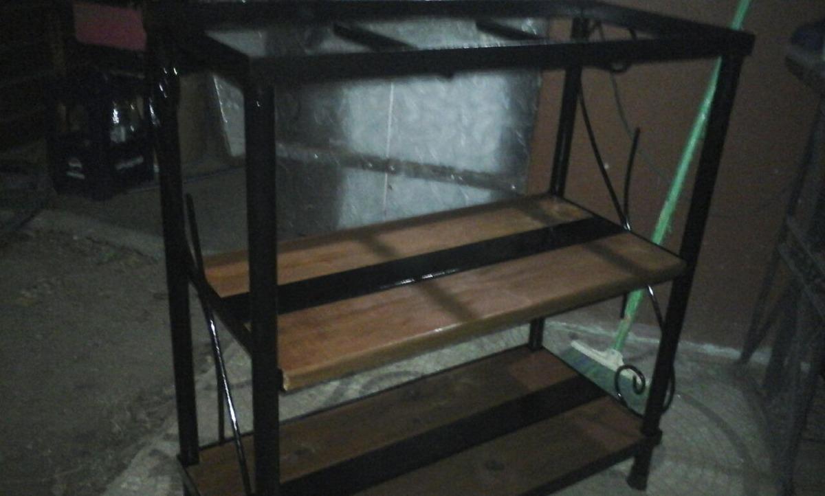 mesa para pecera en hierro y madera super resistente