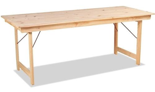 mesa para quincho de madera pino natural para exterior plegable 2 m - ecomadera