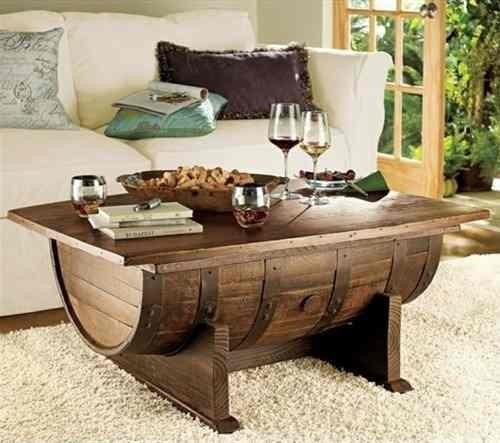 Mesa para sala barril de madera roble rustica por pedido for Mesas de madera para sala