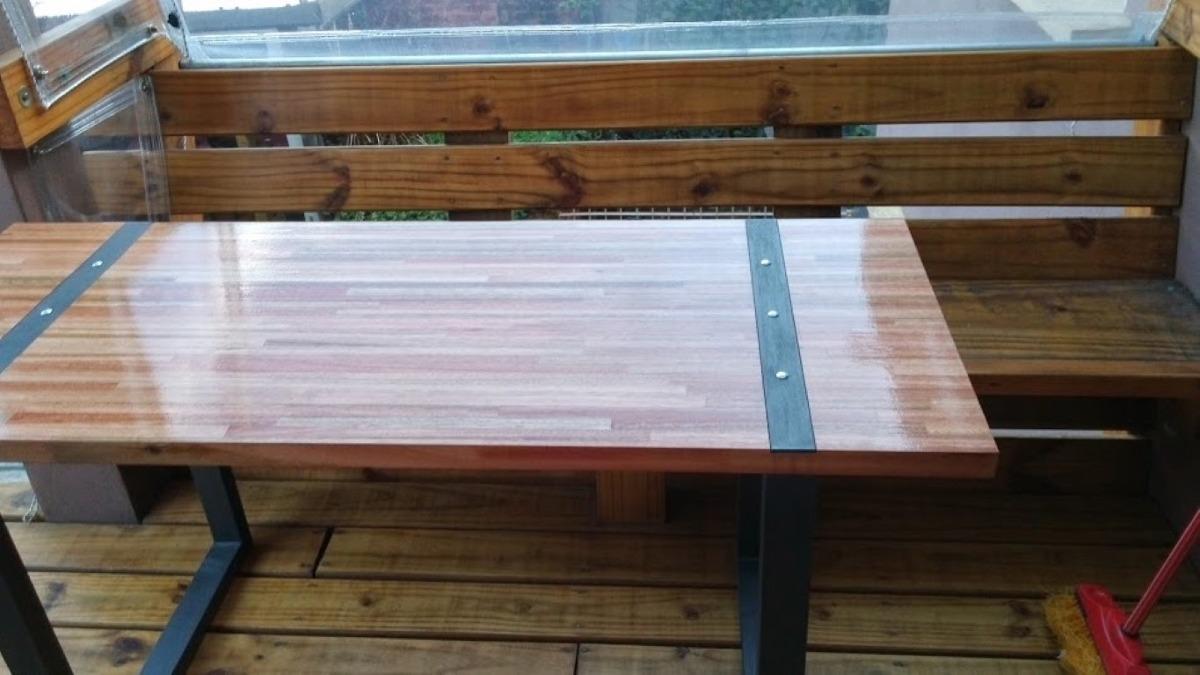 mesa parrillero rustica mesa de hierro y madera a