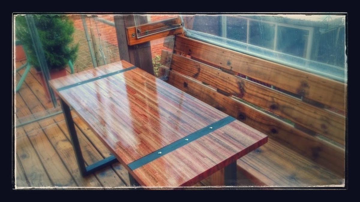 Mesa parrillero rustica mesa de hierro y madera a - Como hacer patas de madera para mesas ...