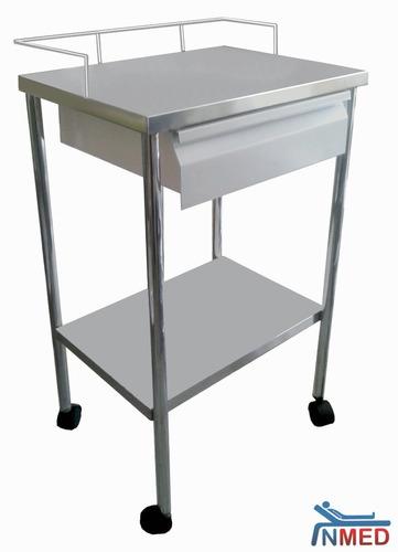 mesa pasteur con cajón esmaltado inmed