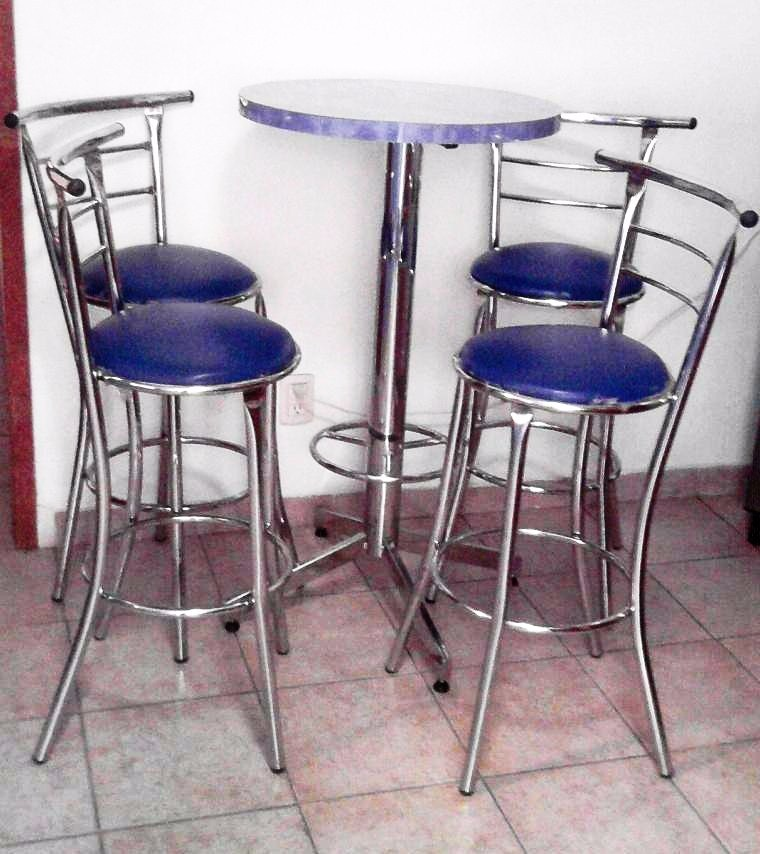 Mesa periquera con 4 bancos para bar cafeteria antro - Mesa con bancos ...
