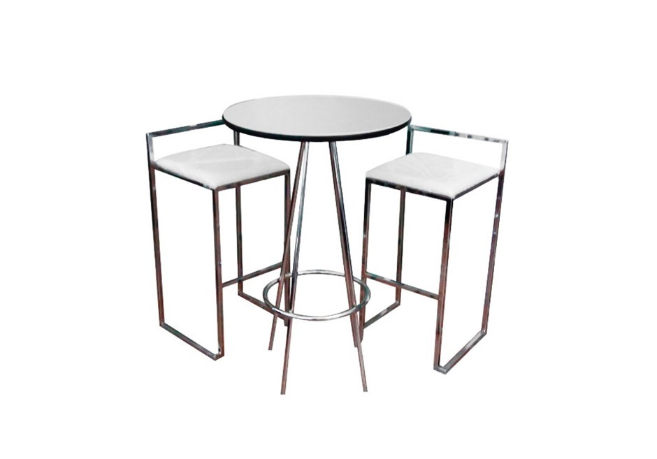 Mesa periquera de cristal con bancos para bar o - Mesa con bancos ...